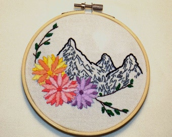 Landscape Mountains with Flowers, Embroidery Hoop