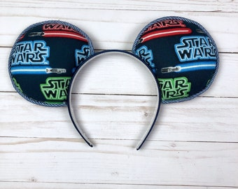 Guy Mouse Ears - Blue Lightsabers