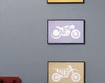 Minimalist Motorcycle Print Series - Cafe Racer - Chopper - Dirt Bike