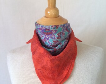 Vintage Anne Klein Floral Print Kerchief // Red Turquoise Square Scarf