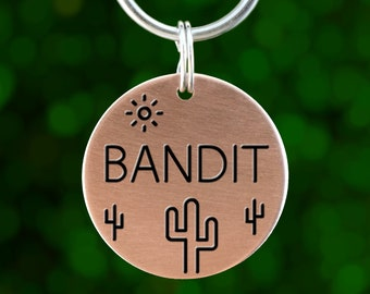 Custom Dog ID Tag (Copper: Cactus)