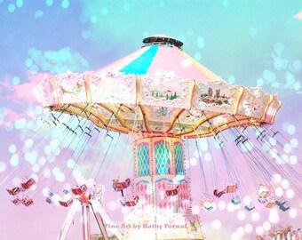 Carnival Nursery Prints, Pink Aqua Mint Baby Girl Nursery Carnival Photography, Baby Girl Nursery Art Decor, Ferris Wheel Photography Prints