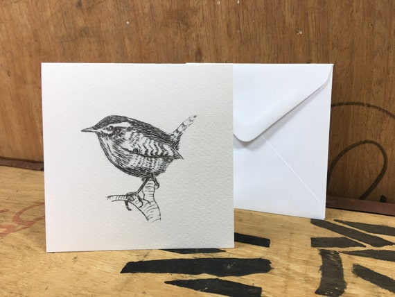 Wren Card • Wren Etching Print • Wren Art • Wren Greeting Card • Wren Birthday Card • Bird Card • Bird Etching Print • British Wildlife Card
