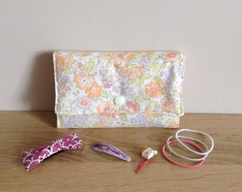 Pouch clips - orange and pink Liberty
