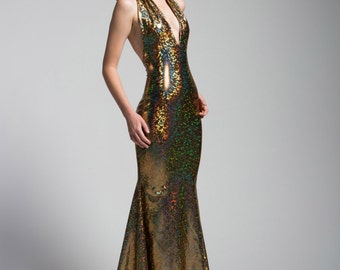 Golden Trophy Gown with Mermaid Train