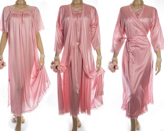 Stunning incredibly silky soft carnation pink shimmering glossy nylon and delicate lace detail nightdress and negligee - complete set - 4271