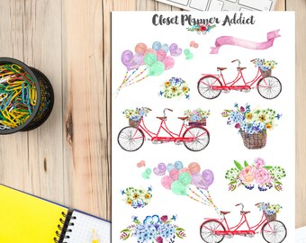 Watercolour Wedding Bicycles Planner Stickers | Watercolour Bicycles | Watercolour Balloons | Bicycles Stickers | Floral Stickers (S-247)