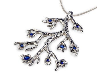 BRANCH Necklace, Sapphire Pendant Necklace, Blue Sapphire Necklace Silver, Twig Necklace, Tree Branch, Woodland, Twig Jewelry, Gift for Her