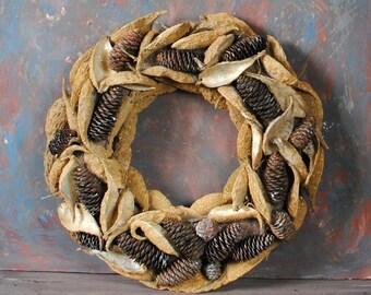 SALE ! Golden wreath with natural milkweed pods, fir cones  Natural dried decor Door wreath Wall decor