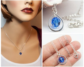Mom Necklace Mothers Day Gift, Mother of the Bride Gift Infinity Necklace September Birthstone Necklace Sapphire Necklace September Birthday