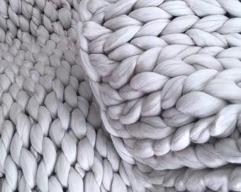 Chunky Knit Blanket, Chunky Knit Throw Blanket, Chunky Knit Throw,  Chunky Knit Merino Wool