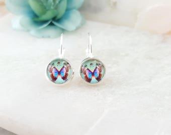 Butterfly Earrings, Turquoise Butterflies, Monarch Butterfly Jewelry, Butterfly Gift, Butterfly Garden, Woodland Chic Jewelry, E6003