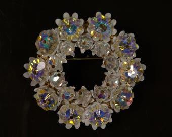 Crystal Wreath Brooch Midcentury Glam Hollywood Regency