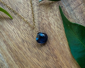 Tiny iolite necklace - Small iolite faceted teardrop necklace - Natural blue crystal necklace - September birthstone necklace