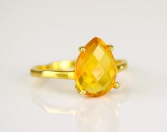 Citrine Ring, November Birthstone Ring, Gemstone Ring, Stacking Ring, Gold Ring, prong set ring, Teardrop Ring citrine jewelry stacking ring