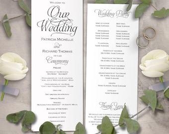 Tea length wedding program template, wedding program template download, Printable wedding ceremony program, editable text,DIY