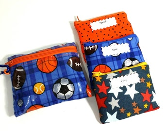 LAMINATED Kids Envelope Wallet, Cash Budget Wallet, Give Save Spend -Plaid Blue Sports- for use with the Dave Ramsey System, READY to SHIP