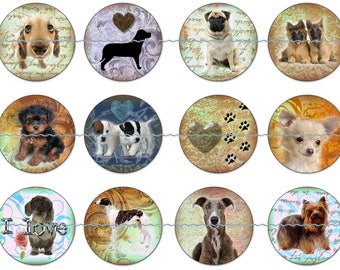 Puppy Magnets or Pin Back Buttons, 1 Inch, 5 or 12 ct sets, Dog Magnets, Dog Pins, I Love Dogs, Dog Party Favors