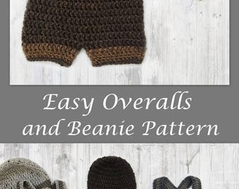 Crochet Baby Beanie and Pants Pattern - Pants - Shorts - Overalls - Suspenders - Easy Crochet Pattern - #crochet by Deborah O'Leary Patterns