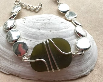 Big Bold Khaki Sea Glass Bracelet