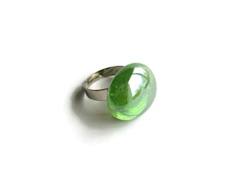 Ring with Light Green Glass Gem