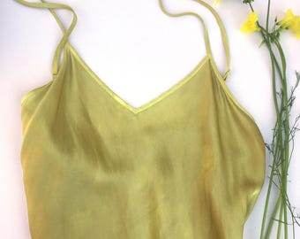 Eco-dyed Silk Camisole; Gold Oxalis; Size Small