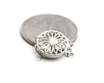 Sterling Silver 925 Filigree Clasp Tongue and Groove Clasp for 3 strands 13mm