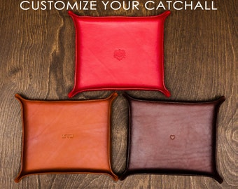 Leather Catchall Large - custom, customize valet tray, gift for him, gift for her, wedding, graduation, ring dish, fathers day