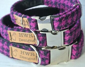 Harris Tweed Dog Collars,  Cerise Houndstooth  Tweed Dog collar,Cerise and Black Houndstooth Tweed Dog Collar. Designer dog collar