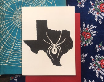 Texas Widow Block Print Card