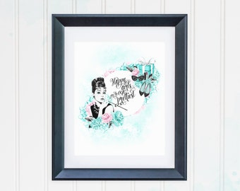Audrey Hepburn Quote Print Breakfast at Tiffanys Wall Decor Watercolor Fashion Illustration Printable Happy Girls are the Prettiest Peonies