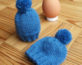 Blue egg cozy - mini hat with pompon - hand-knitted - wool