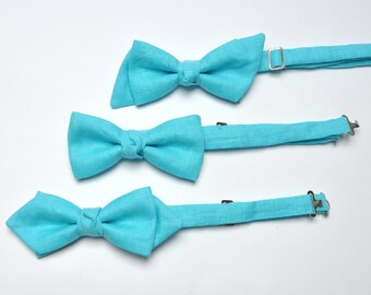 Men's Bow Tie in Light Blue. Bow Tie for Men. Linen Bow Tie. Groom Bow Tie. Bridesman Bow Tie. Groomsmen Bow Tie