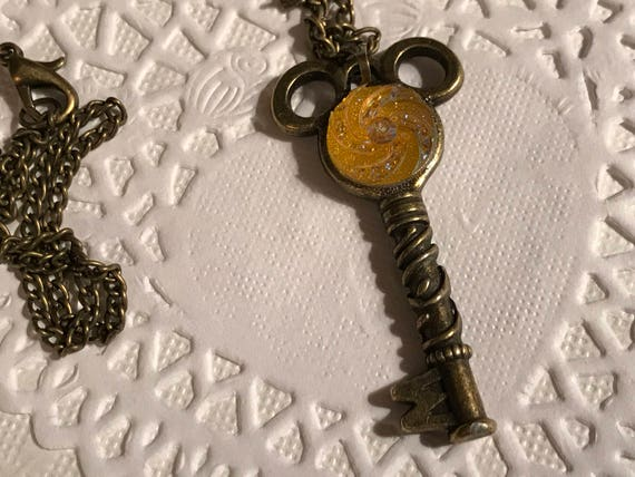 Mouse Ears Key to the Kingdom Key Necklace Steam Punk Jewelry Hidden Mouse-Yellow