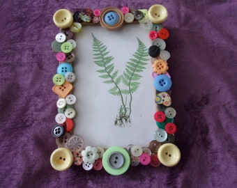 Photo frame, button frame, gift, birthday, home decor, picture frame, up-cycled, vintage