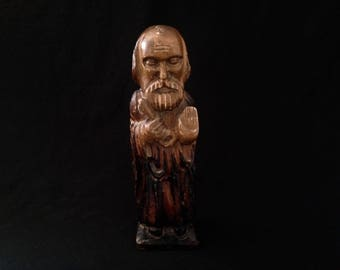 Old statue of Saint Pierre carved wood. Breton craft. 1970's