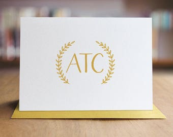 Personalized Stationery Note Card Set / Monogram Note Cards / Wreath Note Cards / Set of 10 Folded Shimmer Note Cards - NC8012