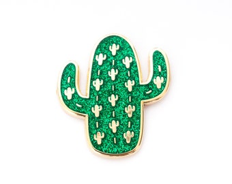 Vegas Cactus Art Hard Enamel Pin - Succulent Pin - Lapel Pin Badge - Cactus Pin, Hard Enamel Pins, Cactus Gift, Pink Green Black White Gold