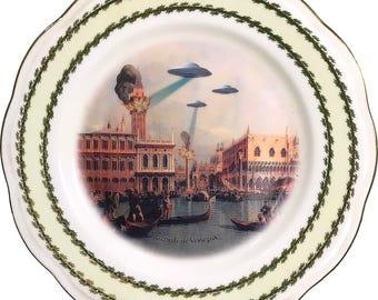 Ricordi di Venezia - Flying Saucer - Vintage Porcelain Plate - #0581