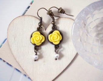 Yellow Rose Earrings Rose dangle earrings Dainty rose earrings Pearl drop earrings Tiny flower earrings Brides maid gifts Hand made earings