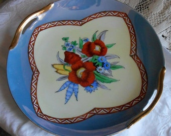 Vintage Noritake Hand Painted Floral Serving Bowl with Two Gilt Handles