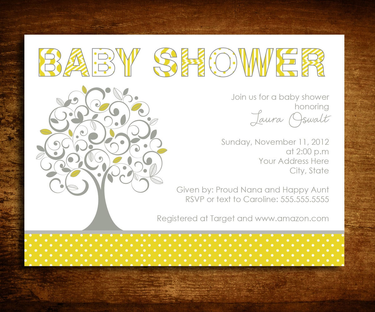 Tree Baby Shower Invitation Gender Neutral Gray and Yellow