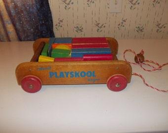 vintage playskool wagon and blocks
