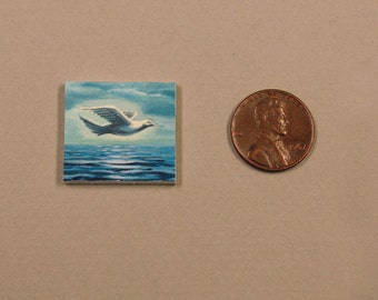 Miniature Seascape Acrylic Painting, Bird Flying Over Ocean, Dollhouse Art, SFA, Small Format Art, Actual Painting, Not a Print, ADA-OMA06