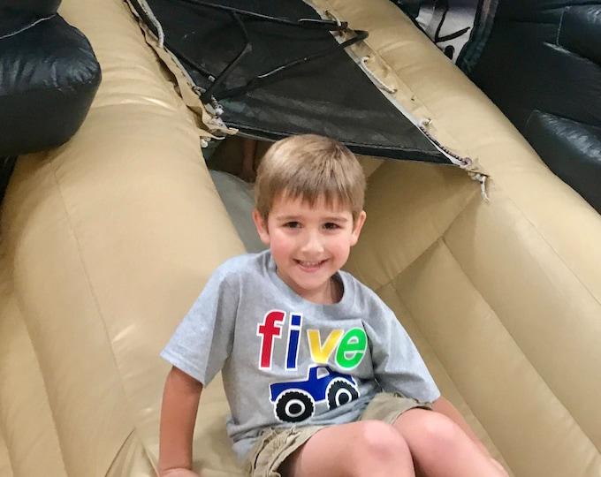 Boys Birthday Shirt, Big Truck Birthday Shirt, Five year old Birthday shirt