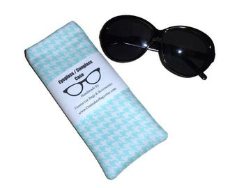 Sunglass or Eyeglass Case, Soft Padded Turquoise Houndstooth Fabric Pouch, Gift for Teen Girls and Women