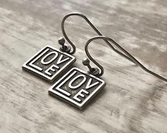 Love Earrings, Small Love Earrings, Dangle Earrings, Amore Earrings, Amor Earrings