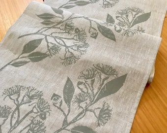 Linen table runner, Screen printed linen table runner, Hand printed table runner, Australian eucalypt, GREIGE, green, grey, taupe, gum green