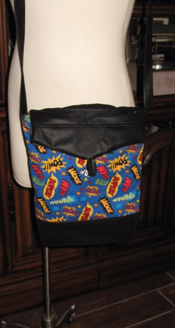 Super Hero Words print unisex shoulder bag or crossbody bag size 14x11x3