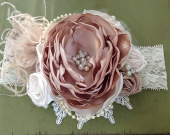 French Fairytale Over the Top Headband, couture headband, over the top bow, baby headband, flower headband, ott headband, vintage headband